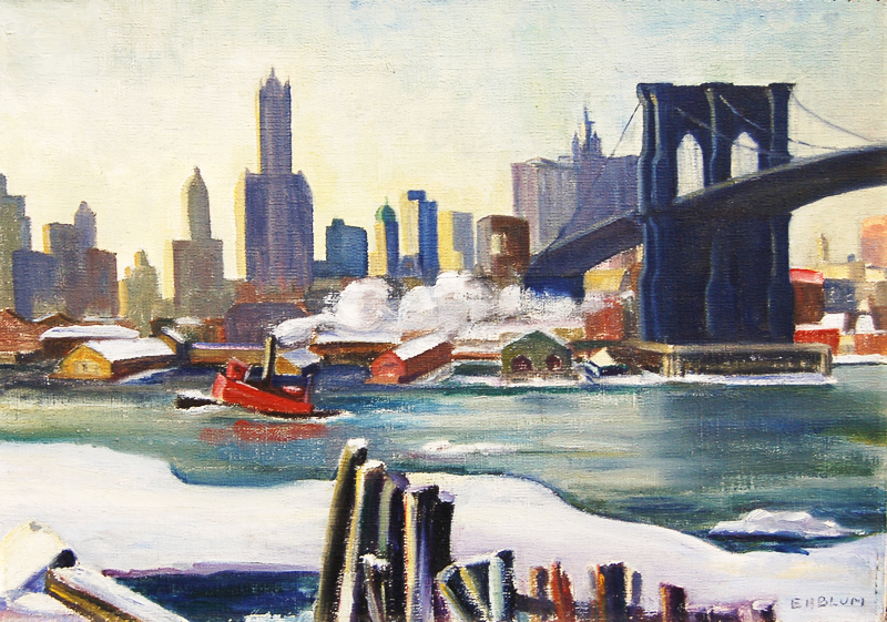 Ice on the River, watercolor by Ethel H. Blum, among many works of Blum's in the Elizabeth Moss Gallery in Falmouth, opening August 31.