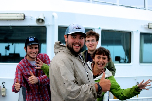 College of the Atlantic students show enthusiasm on their way over to Samso Island on the ferry. / Navi Whitten photo