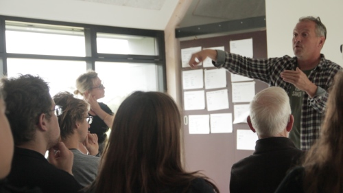 """Soren Hermansen instructs COA students visiting Samso Energy Academy in Denmark as part of the """"Islands: Energy, Economy and Community"""" course being taught cooperatively by COA and the Island Institute under the auspices of the Fund for Maine Islands."""