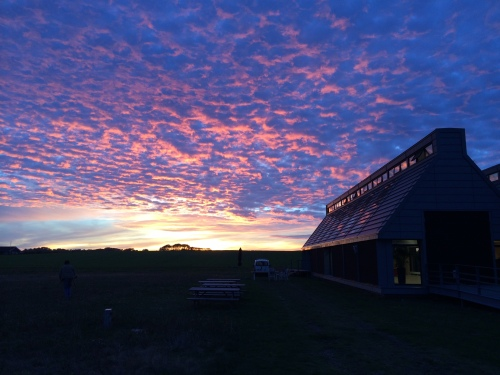 Samsø Energy Academy at daybreak during an expeditionary field course attended by College of the Atlantic students in late September and early October.